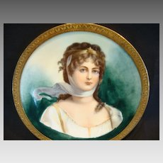 """Extraordinary Portrait of Queen Louise of Prussia ~ 4 3/8"""" W Miniature ~Framed Metal Holder ~ Limoges Porcelain ~ Delinieres & Co Limoges France 1879-1900"""