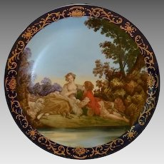 Beautiful French Porcelain Cabinet Plate With Pastoral Scene