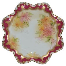 Wonderful Star Shaped Porcelain Plate with Hand Painted Mums ~ George Jones  & Sons England 1981-1920