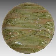 Perfect Asparagus Plate ~ French Faience / Majolica  ~ HAUTIN & BOULANGER (or BOULENGER) (Choisy-le-Roi, France) - ca 1836 - 1880s