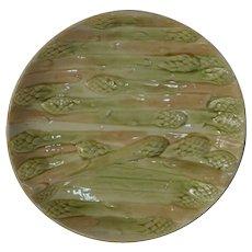 Perfect Asparagus Plate ~ French Faience / Majolica  ~ HAUTIN & BOULANGER (or BOULENGER) (Choisy-le-Roi, France) - ca 1836 - 1880s