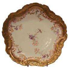 Exquisite Limoges Porcelain Cabinet Plate ~ Purple Flowers ~ Ornate Rim ~ Vignaud Frères Limoges France 1911+