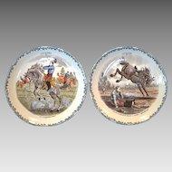 2 Great Horse Plates ~ Cavalier Series #3 #11 ~  Hautin & Boulengar ~ H B & Cie ~ Choisy Le Roi France ~1836 +