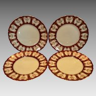 Elegant Dinner Plates ~ Deep Red with Gold ~RA6768L / H3362 – Royal Doulton England / Doultons Robert Allen Studios 1908-1927