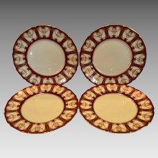 Elegant Dinner Plates ~ Deep Red with Gold ~RA6768L / H3362 – Royal Doulton England / Doultons Robert Allen Studios 1908-1927