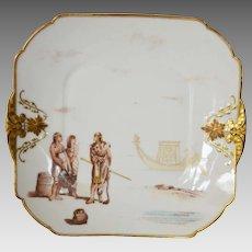 Exceptional Haviland Limoges Cabinet Plate ~ Egyptian Revival Decorations ~ Charles Field Haviland / Gerard Dufraisseix Morel Limoges France 1882