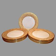 "Set Of Eight 8 & More French Limoges Porcelain  9 5/8"" Dinner Plates ~ Heavy Gold Design ~ Tressemann & Vogt Limoges for Higgins & Seiter, New York 1902-1907"