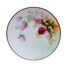 """Beautiful 6 5/8"""" Bavaria Plate ~ Hand Painted with Pink / Red Clovers ~ Artist 'Hale' ~ Pickard Studios Chicago IL  / Favorite Bavaria 1905-1910"""