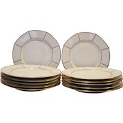 """12 - 8 ¾"""" Plate Set ~ Limoges Porcelain Dinner / Salad ~ White with Gold Spokes ~ circa 1908 Jean Pouyat Limoges France for Wells-Burrage Co Boston"""