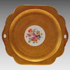 Gorgeous Handled Serving / Cake Plate  Hand Painted with Encrusted Gold and Dresden Styled Flowers ~ Pickard Studios Chicago IL 1925-1930
