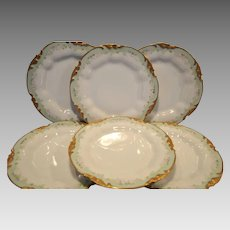 "Set of 6 Limoges Porcelain 9 ¾"" Dinner Plates / Bowls ~ Hand Painted with Soft Pink Roses ~ Jean Pouyat Limoges France 1890-1932"