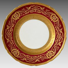 Elegant English China Cabinet Plate ~ Deep Red with Gold ~ Royal Doulton  Burslem England / Ovington's Chicago / New York 1902-1922