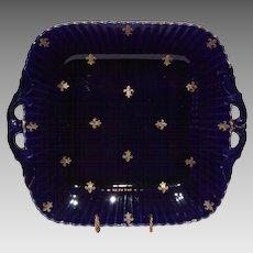 Wonderful French Cobalt Cake Plate / Sandwich Tray with Golden Fleur de Lis ~ Utzschneider & Co Sarreguemines France 1889 -1892