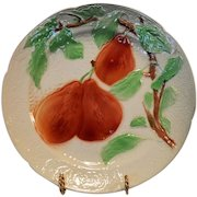 Pretty French Majolica Faience ~ Ripe Pears~  St Clement France  early 1900's