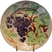 Nice French Majolica Faience Plate with Purple Grapes~ St Clements, France mid 1900s