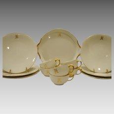 Gorgeous 19 Piece Limoges Dessert / Sandwich Set  ~ Dragon Handles ~ Monogrammed 'R' ~ White & Gold ~ Jean Pouyat Limoges France 1890-1932