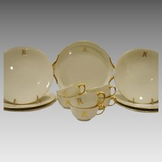 Gorgeous 19 Piece Limoges Dessert / Sandwich Set  ~ Dragon Handles ~ Monogrammed 'R' ~ White & Gold ~ Jean Pouyat Limoges France 1890-1932