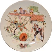 Adorable French Faience Character / Story Plate with Family Picking Apples ~ Enfants Richard ~ Froment-Richard  Antoine-Albert Richard ~UTZSCHNEIDER & CO (Sarreguemines, France) – 1905-1910