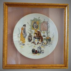 Neat French Faience Story Plate / Plaque in a Shadowbox Frame ~ Man Fixing Distraught Young Lady's Porcelain ~ Froment-Richard / Antoine-Albert Richard ~ UTZCHNEIDER & CO [(Sarreguemines, France) - ca 1881s - 1930s