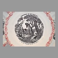 Wonderful French Faience Plate ~ Hunting Scenes~ #5 from Series Medailles d'Or Questions de Mr. Crakfort ~ Hautin & Boulanger choisy le roi France 1875-1900