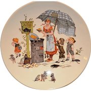 Wonderful French Faience Character / Story Plate / Plaque with Children & Cats~ ~ Froment-Richard  Antoine-Albert Richard ~UTZSCHNEIDER & CO (Sarreguemines, France) – 1920-1950's