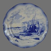 French Faience Cabinet Plate ~ Fishing Ships ~  Marines Faienceries Sarreguemines France 1890-1918