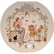 Adorable French Faience Story Plate / Plaque ~ Young Woman Blowing Bubbles for Children ~ Froment-Richard / Antoine-Albert Richard  ~UTZCHNEIDER & CO [(Sarreguemines, France) - ca 1875 - 1900