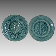 2  Antique 19thC French Majolica Fig & Mulberry Leaf Design in Teal~  Hautin &  Boulenger Choisy le Roi 1836-1930