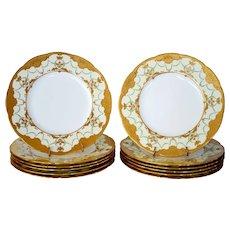 "Dinner Plates ~  Set of 11 Minton 10 1/4""~ Gold  Enamel Paste ~ Mintons Stoke on Trent, Staffordshire England, circa 1890-1920  for Davis Collamore Fifth Ave New York"