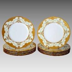 "Set of 12 Minton 10 1/4"" Dinner Plates ~  Gold  Enamel Paste ~ Mintons Stoke on Trent, Staffordshire England, circa 1890-1920  for Davis Collamore Fifth Ave New York"