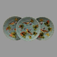 """3 - German Majolica Turquoise 9 ¾"""" Plates~ Birds, grapes and Leaves ~ Germany 1920's"""