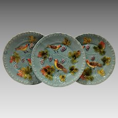 "3 - German Majolica Turquoise 9 ¾"" Plates~ Birds, grapes and Leaves ~ Germany 1920's"