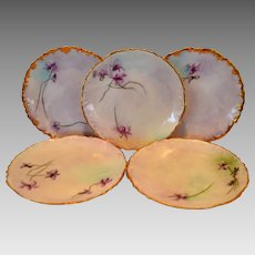 "5 Wonderful Limoges 6"" plate set ~ Hand Painted by EMF ~ Delinieres & CO Limoges France 1894-1900"