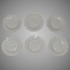 """Set of 6 ~ 7 ¾"""" WHITE Salad / Dessert Plates ~ French Faience/  Majolica~  Fruit Design ~ Digoin And Vitry-Le-Francois (Sarreguemines, France) – 1920-1950"""