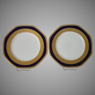 "Beautiful Pair of 10"" Porcelain Plates ~ 8 sided with Cobalt and Gold ~Pattern 23582 ~ George Jones & Sons England Pre 1921"
