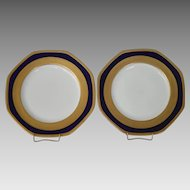 """Beautiful Pair of 10"""" Porcelain Plates ~ 8 sided with Cobalt and Gold ~Pattern 23582 ~ George Jones & Sons England Pre 1921"""
