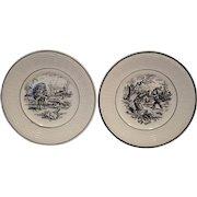 "Birthday Plates (Feb or Mar) w/ Children Scenes~ 7"" French Faience  ~ Les Mois ~ Digoin Sarreguemines 1900's"