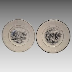 "Birthday Plates (Feb or Mar) w/ Children Scenes~ 7"" French Faience  ~ Les Mois ~ Digoin Sarreguemines 1900's"