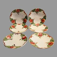 Set of 6 Beautiful Majolica / Faience Plates ~ Decorated with Colorful Red Apples ~ H Boulenger & CO Choisy le Roi France ~ 1860-1936