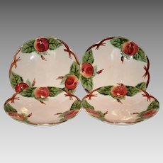 REDUCED!! Set of 4 Beautiful Majolica / Faience Plates ~ Decorated with Colorful Red Apples  ~ H Boulenger & CO Choisy le Roi France ~ 1860-1936