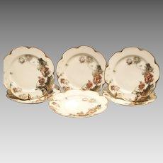 "6 Haviland Plates – 8 1/2"" W~  Limoges Feu de Four  Luncheon / Dessert ~ ""Parrot Tulip""  Pattern on Silver Anniversary / Schleiger #19 Mold ~ Haviland & Co 1893-1931"