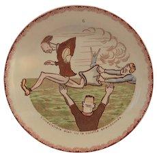 Plate~ French Faience ~ Football ~ Hautin & Baulanger Choisy le Roi France 1890-1930