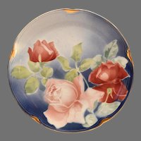 French Faience / Majolica Plate ~ Red and Pink Roses ~ KELLER & GUERIN - ERNEST BUSSIERE (Nancy, France) - ca. 1890s - 1930s