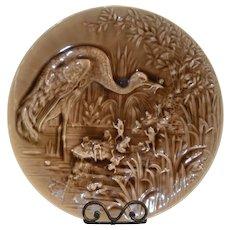 "Faience /Majolica Wall Plaque Heron eating Frogs ~ 16 ¾""  ~ Burmantofts Pottery Leads England CA 1845-1957"