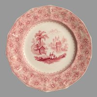 Wonderful Cabinet Soup Plate / Bowl ~ 14 Sided ~Old English Ironstone ~ Red Transfer ~ Garden Scenery ~ T. J. & J. Mayer Longport, Burslem Staffordshire England  1842 – 1855