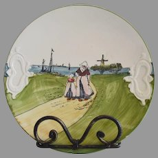 German Cake Plate With Dutch Scene of Woman and Girl ~ ZELL United Ceramic Factories - Georg Schmider (Germany) - ca 1907 – 1928