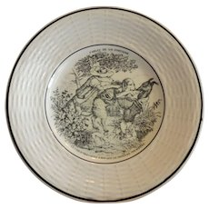 Adorable Childs Plate ~ Fables de la Fontaine  ~ The Dog Who Carries His Master's Dinner Round His Neck  ~ Digion/Sarreguemines  France 1919-1940's