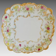 "Beautiful Limoges  9"" Square Plate~ Dessert / Sandwich ~ Hand Painted with Flowers ~ GERARD, DUFRAISSEIX & ABBOT (GDA) - LIMOGES (France) - ca 1900 – 1941"