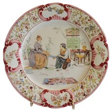 Plate / Plaque Shoemaker selling Cinderella Slippers ~ UTZCHNEIDER & CO [(Sarreguemines, France) - ca 1890s - 1920s