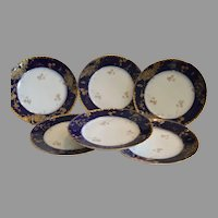 Set of 6 Plates~ Limoges Porcelain ~ Cobalt Blue ~ Gold Encrusted Rim ~ Charles Field Haviland GERARD, DUFRAISSEIX, and MOREL Limoges France 1891-1899